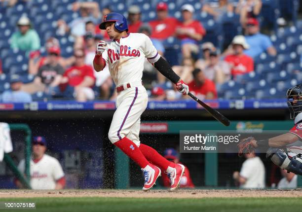 Cesar Hernandez of the Philadelphia Phillies during a game against the Washington Nationals at Citizens Bank Park on July 1 2018 in Philadelphia...