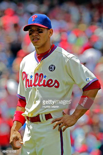 Cesar Hernandez of the Philadelphia Phillies during a game against the Los Angeles Dodgers at Citizens Bank Park on May 25 2014 in Philadelphia...