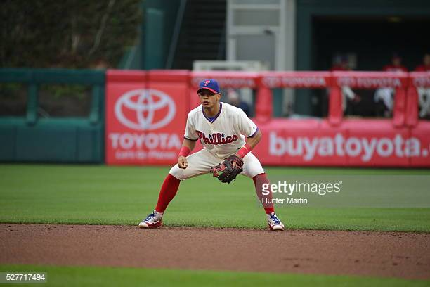 Cesar Hernandez of the Philadelphia Phillies during a game against the Cleveland Indians at Citizens Bank Park on May 1 2016 in Philadelphia...