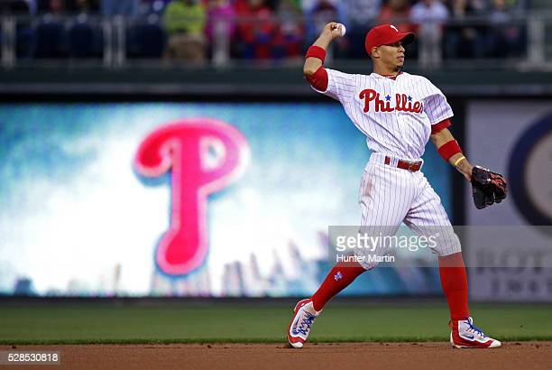 Cesar Hernandez of the Philadelphia Phillies during a game against the Cleveland Indians at Citizens Bank Park on April 29 2016 in Philadelphia...