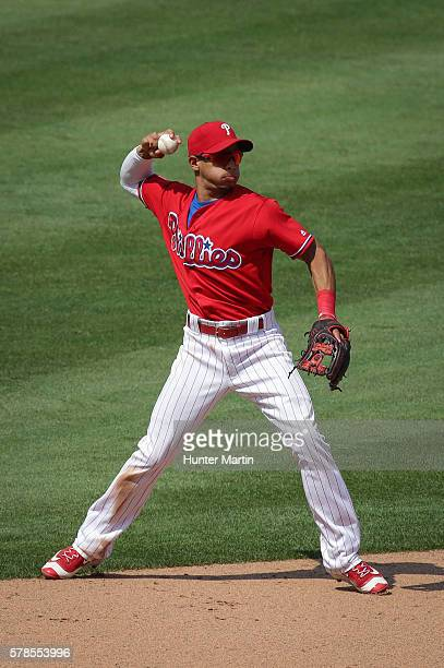 Cesar Hernandez of the Philadelphia Phillies during a game against the Arizona Diamondbacks at Citizens Bank Park on June 20 2016 in Philadelphia...