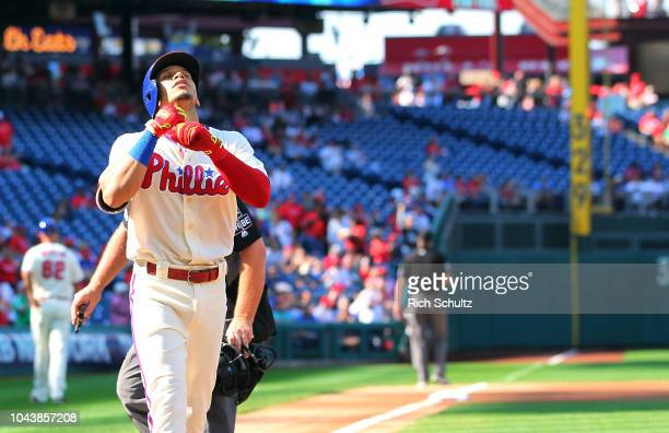 Cesar Hernandez of the Philadelphia Phillies gestures after hitting a first inning home run against the Atlanta Braves during a game at Citizens Bank...