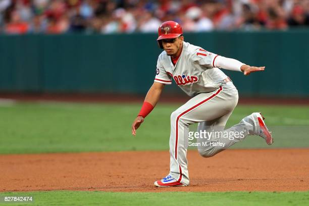 Cesar Hernandez of the Philadelphia Phillies hesitates while running to second base during the first inning of a game against the Los Angeles Angels...