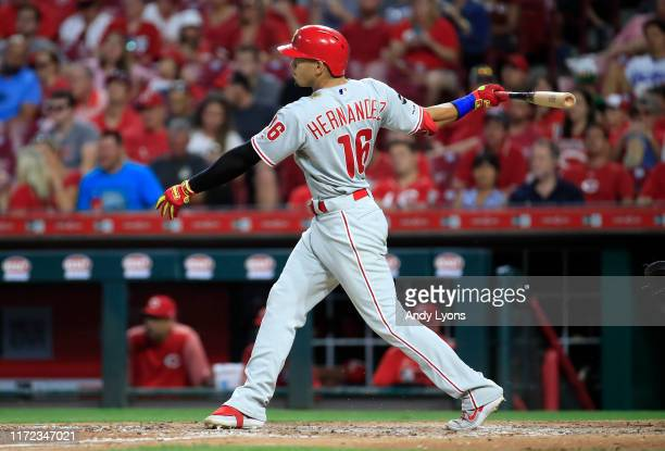 Cesar Hernandez of the Philadelphia Phillies hits a double in the 5th inning against the Cincinnati Reds at Great American Ball Park on September 04,...