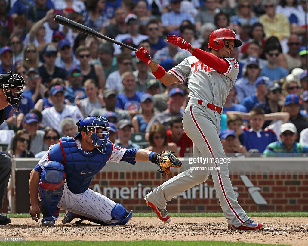 Cesar Hernandez #16 of the Philadelphia Phillies hits a double in the 7th inning against the Chicago Cubs at Wrigley Field on May 28, 2016 in Chicago, Illinois. The Cubs defeated the Phillies 4-1.