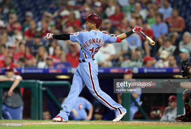 Cesar Hernandez of the Philadelphia Phillies hits a solo home run in the first inning during a game against the Atlanta Braves at Citizens Bank Park...