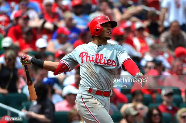 Cesar Hernandez of the Philadelphia Phillies hits a solo home run during the seventh inning against the St Louis Cardinals at Busch Stadium on May 8...