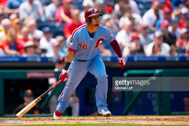 Cesar Hernandez of the Philadelphia Phillies hits a two RBI bases loaded double in the bottom of the second inning against the San Francisco Giants...