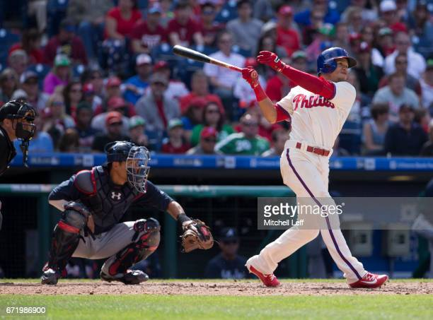 Cesar Hernandez of the Philadelphia Phillies hits a two run home run in the bottom of the eighth inning against the Atlanta Braves at Citizens Bank...