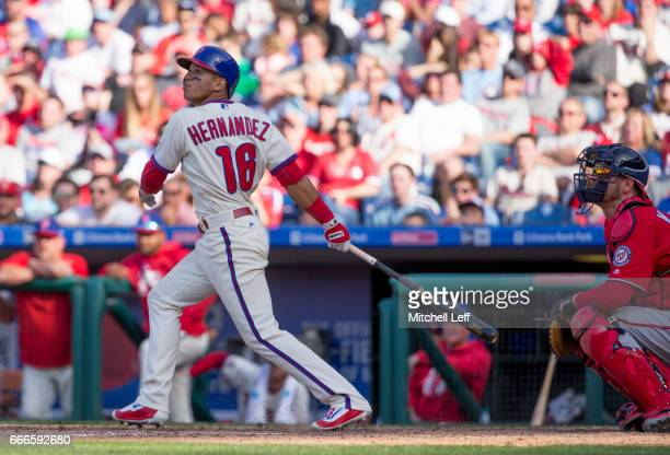 Cesar Hernandez of the Philadelphia Phillies hits a walk off single in the bottom of the ninth inning against the Washington Nationals at Citizens...