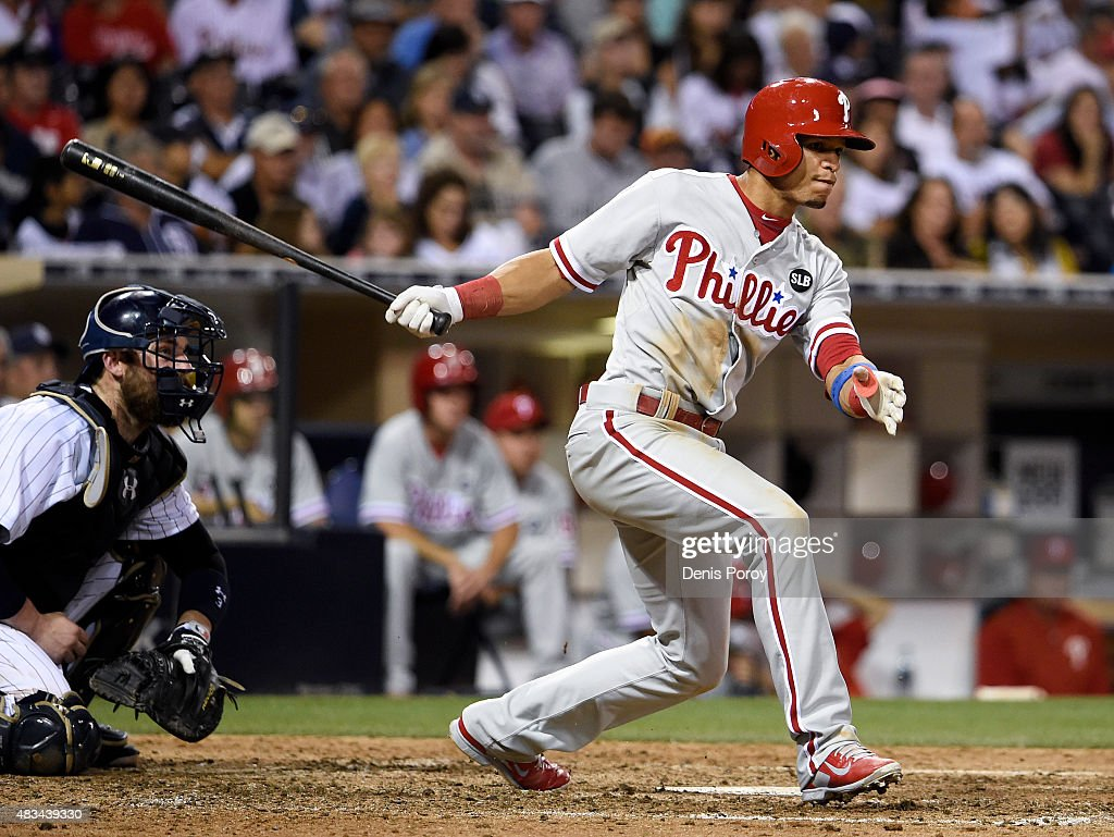 Cesar Hernandez #16 of the Philadelphia Phillies hits an RBI triple during the eighth inning of a baseball game against the San Diego Padres at Petco Park August 8, 2015 in San Diego, California.