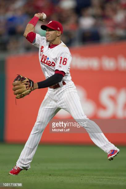 Cesar Hernandez of the Philadelphia Phillies in action against the Boston Red Sox at Citizens Bank Park on August 15 2018 in Philadelphia Pennsylvania