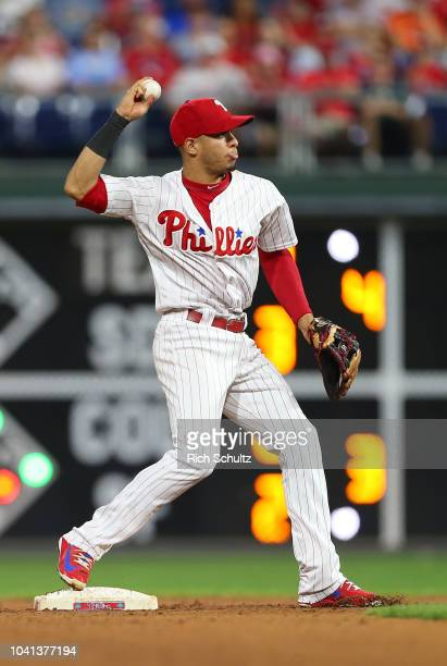 Cesar Hernandez of the Philadelphia Phillies in action against the Miami Marlins during a game at Citizens Bank Park on September 15 2018 in...