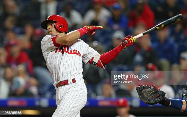 Cesar Hernandez of the Philadelphia Phillies in action against the Atlanta Braves during a game at Citizens Bank Park on September 28 2018 in...