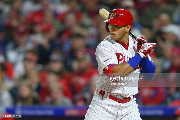 Cesar Hernandez of the Philadelphia Phillies in action against the New York Mets during a game at Citizens Bank Park on April 16, 2019 in...