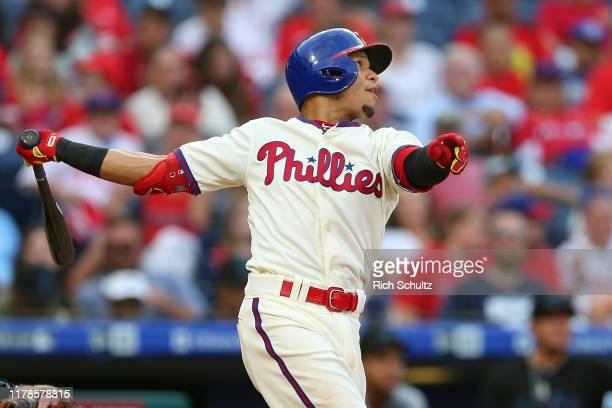 Cesar Hernandez of the Philadelphia Phillies in action against the Miami Marlins during a game at Citizens Bank Park on September 29, 2019 in...