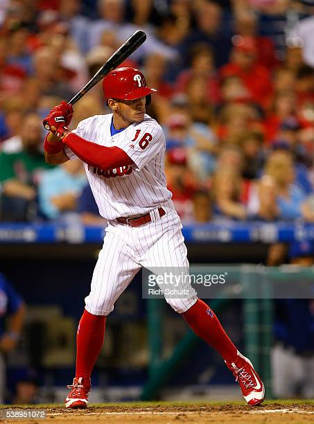 Cesar Hernandez of the Philadelphia Phillies in action against the Chicago Cubs in the seventh inning of a game at Citizens Bank Park on June 6 2016...