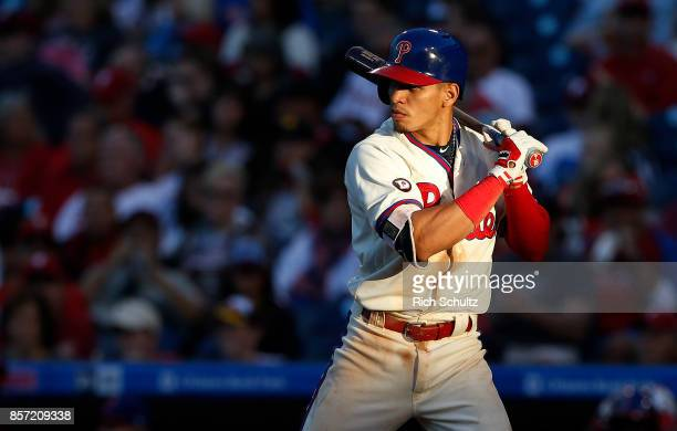 Cesar Hernandez of the Philadelphia Phillies in action against the New York Mets during a game at Citizens Bank Park on October 1 2017 in...