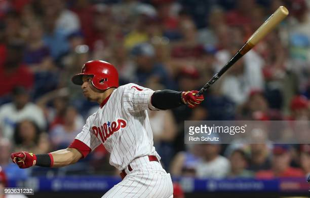 Cesar Hernandez of the Philadelphia Phillies in action against the Washington Nationals during a game at Citizens Bank Park on June 29 2018 in...