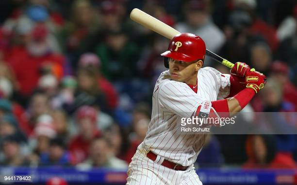 Cesar Hernandez of the Philadelphia Phillies in action during a game against the Miami Marlins at Citizens Bank Park on April 7 2018 in Philadelphia...
