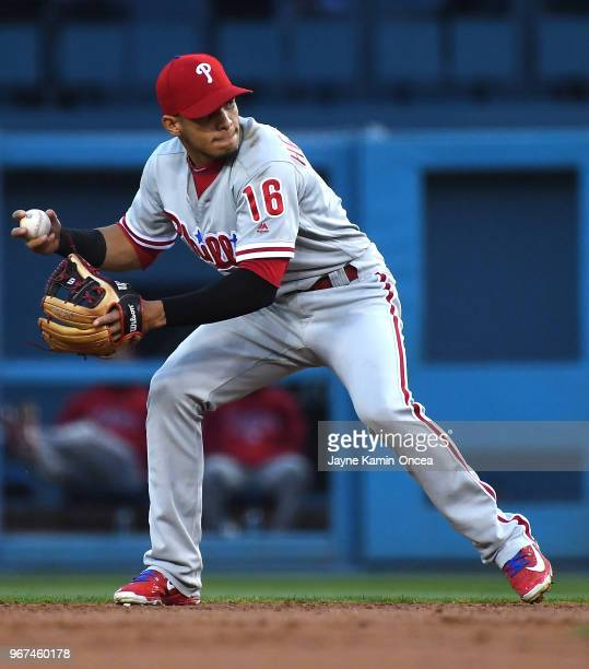 Cesar Hernandez of the Philadelphia Phillies makes a play in the game against the Los Angeles Dodgers at Dodger Stadium on May 30 2018 in Los Angeles...