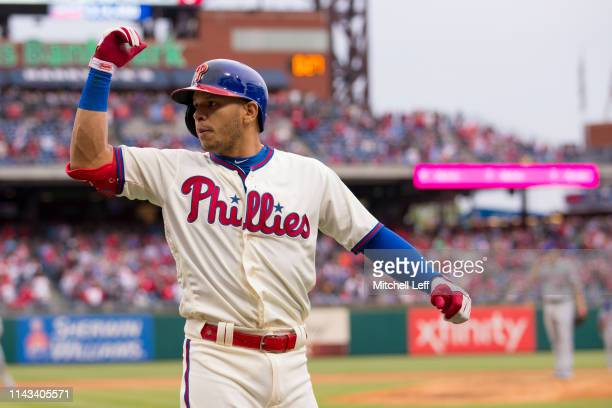 Cesar Hernandez of the Philadelphia Phillies reacts after hitting solo home run in the bottom of the sixth inning against the New York Mets at...