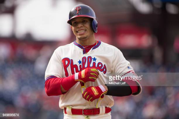 Cesar Hernandez of the Philadelphia Phillies reacts after lining out to end the third inning against the Pittsburgh Pirates at Citizens Bank Park on...