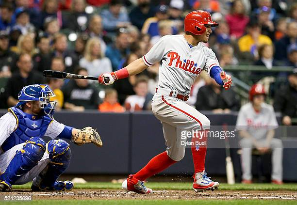 Cesar Hernandez of the Philadelphia Phillies singles against the Milwaukee Brewers at Miller Park on April 22 2016 in Milwaukee Wisconsin
