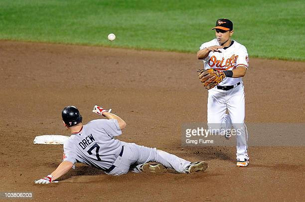 Cesar Izturis of the Baltimore Orioles forces out JD Drew of the Boston Red Sox to start a double play at Camden Yards on September 2 2010 in...