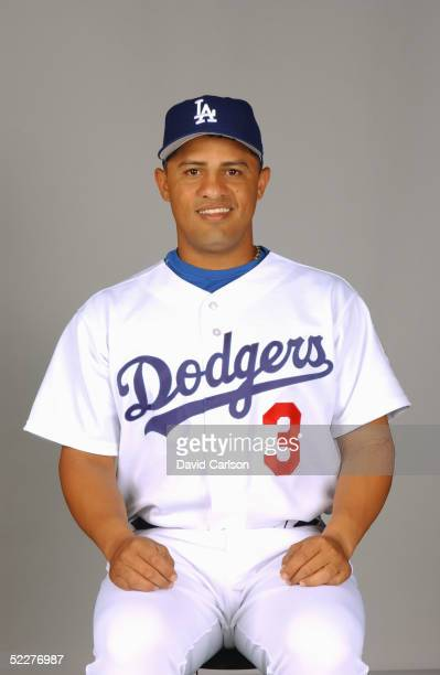 Cesar Izturis of the Los Angeles Dodgers poses for a portrait during photo day at Holman Stadium on February 27, 2005 in Vero Beach, Florida.