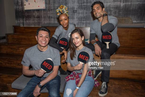 """Cesar Jaime, Torrey DeVitto , YaYa DaCosta, and Dominic Rains of """"Chicago Med"""" participate in the """"Paddle Battle"""" to benefit the 100 Club of Chicago..."""