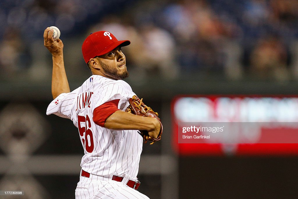 Cesar Jimenez #56 of the Philadelphia Phillies throws a pitch in the ninth inning of the game against the Colorado Rockies at Citizens Bank Park on August 22, 2013 in Philadelphia, Pennsylvania. The Phillies won 5-4.