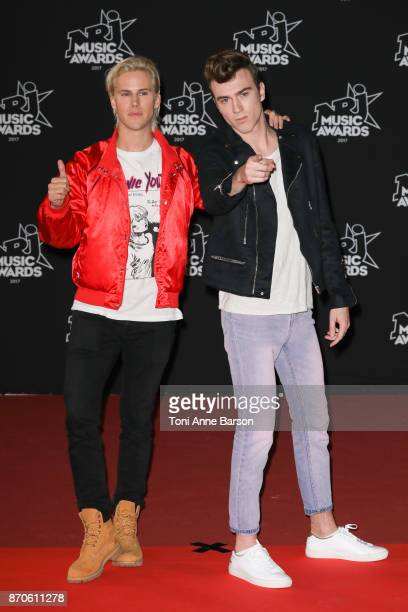 Cesar Laurent de Rummel and Dorian Lauduique from 'Ofenbach' DJs band arrive at the 19th NRJ Music Awards ceremony at the Palais des Festivals on...