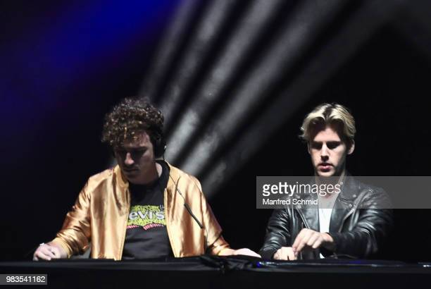 Cesar Laurent de Rummel and Dorian Lauduique of Ofenbach perform on stage at Donauinselfest DIF 2018 Wien at Donauinsel on June 24 2018 in Vienna...
