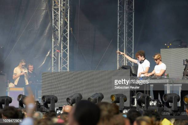 Cesar Laurent de Rummeland Dorian Lauduique of Ofenbach live on stage during the first day of the Lollapalooza Berlin music festival at...