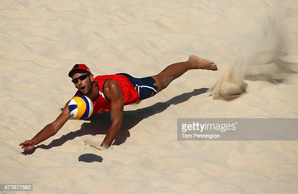 Cesar Menindez Ortego of Spain returns the ball during the Men's Group B Preliminary match between Poland and Spain on day seven of the Baku 2015...