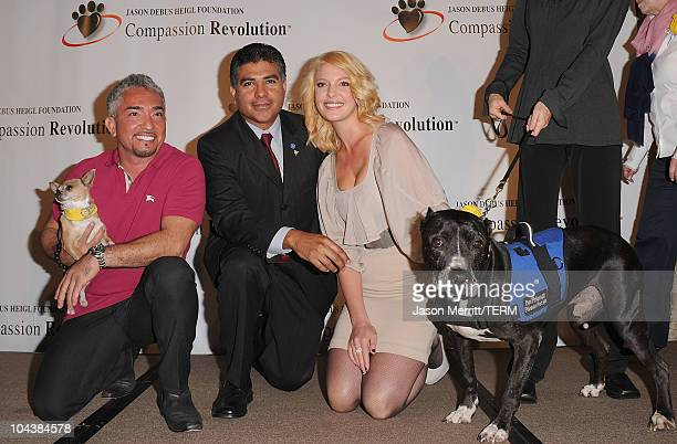 Cesar Millan, Tony Cardenas, and actress Katherine Heigl attend the Jason Debus Heigl Foundation's Compassion Revolution press conference on...
