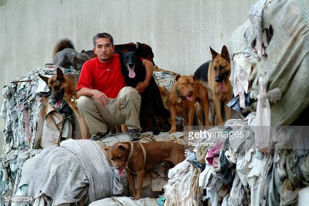 """Cesar Millan who owns """" The Dog Psychology Center of Los Angeles, undergoing psychological correction in a factory on October 22, 2002 in Los..."""
