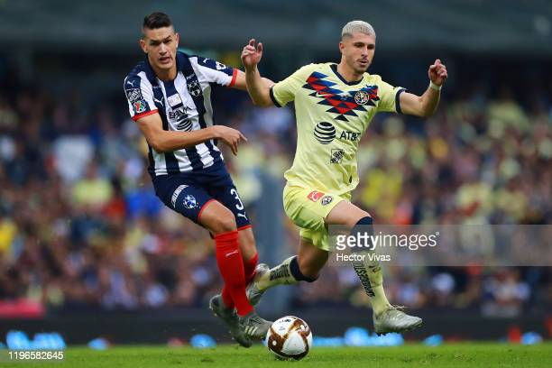 Cesar Montes of Monterrey struggles for the ball against Guido Rodríguez of America during the Final second leg match between America and Monterrey...