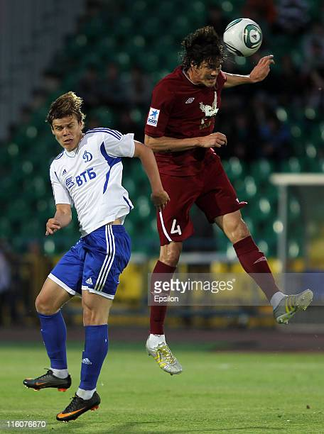 Cesar Navas of FC Rubin Kazan battles for the ball with Aleksandr Kokorin of FC Dinamo Moscow during the Russian Football League Championship match...