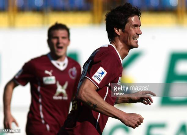 Cesar Navas of FC Rubin Kazan celebrates after scoring a goal during the Russian Premier League match between FC Rubin Kazan and FC Ural Sverdlovsk...