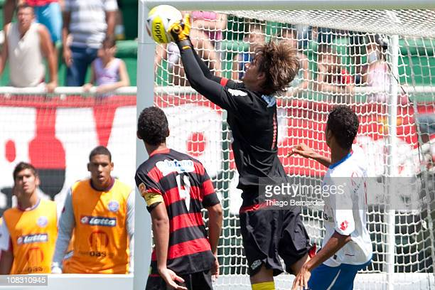 Cesar of Flamengo punches the ball during the final match of Sao Paulo Juniors Cup 2011 at Pacaembu Stadium on January 25 2011 in Sao Paulo Brazil
