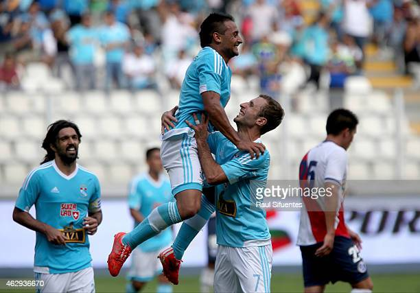 Cesar Pereyra of Sporting Cristal celebrates the fourth goal of his team against Deportivo Municipal during a match between Deportivo Municipal and...