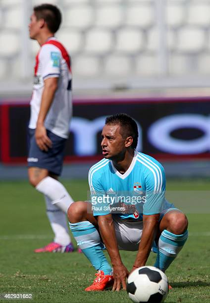 Cesar Pereyra of Sporting Cristal looks on after scoring the third goal of his team against Deportivo Municipal during a match between Deportivo...