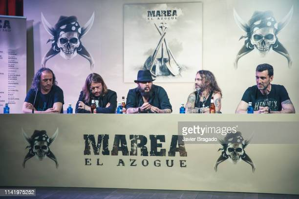 Cesar Ramallo Alen Ayerdi Kutxi Romero Eduardo Beaumont aka Piñas and David Díaz aka Colibri attend the press conference to present Marea's new album...