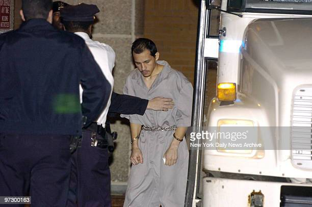 Cesar Rodriguez gets off of a bus and is taken into Bellevue Hospital Rodriguez and his wife Nixzaliz Santiago were indicted today on charges of...