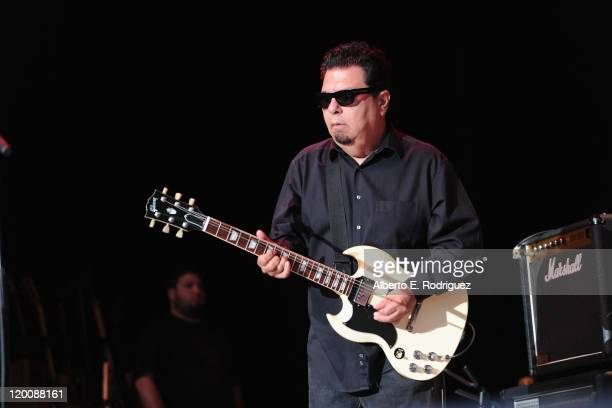 Cesar Rosas of Los Lobos performs at a concert at The Greek Theatre on July 29 2011 in Los Angeles California