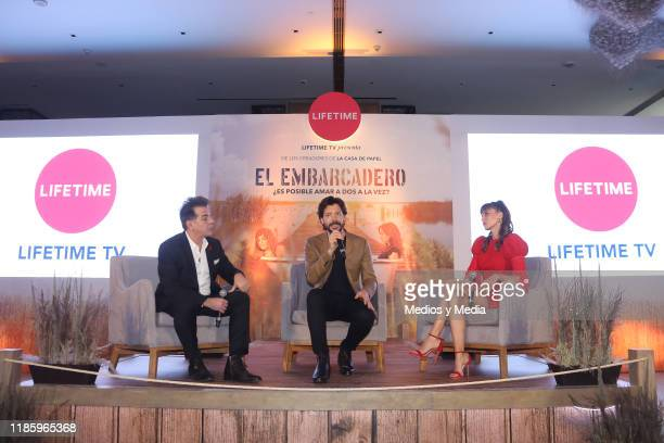 Cesar Sabroso, Alvaro Morte and Irene Arcos speaks during the press conference of 'El Embarcadero' at Hotel St. Regis on November 6, 2019 in Mexico...