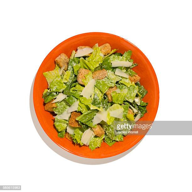 Cesar Salad on Orange Plate