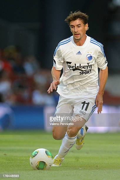 Cesar Santin of FC Copenhagen in action during the Danish Superliga match between FC Copenhagen and Randers FC at Parken Stadium on August 4 2013 in...